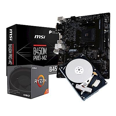 微星B450M PRO M2+AMD Ryzen5 2600+1TB套餐組