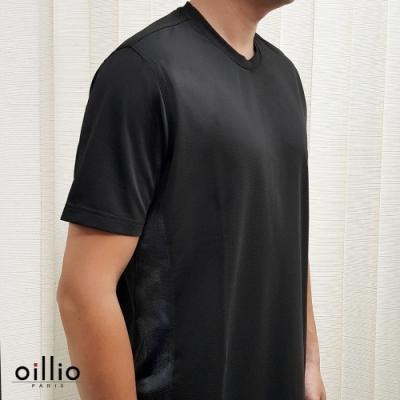 oillio歐洲貴族 健康磁石圓領T恤 超彈力 吸濕急速乾 機能衫 黑色