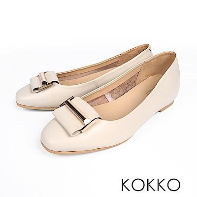 KOKKO - 時髦方頭內增高彈力羊皮平底鞋-簡約米