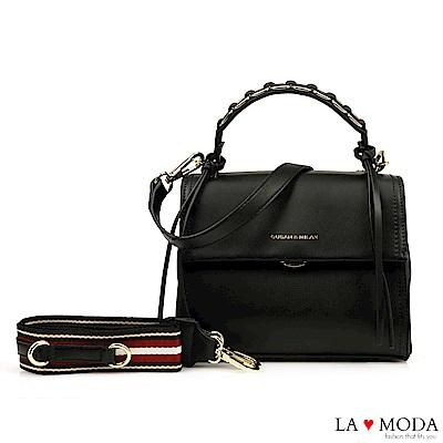La Moda 設計師款多背法大容量肩背斜背方包(黑)