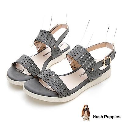 Hush Puppies Heron 柔軟皮質雕花涼鞋-藍色