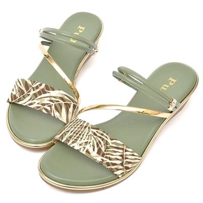 山打努SANDARU-全真皮兩穿樹枝紋滾邊楔型涼鞋-綠