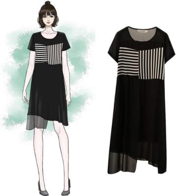 中大尺碼圓領黑白條紋拼接不規則雪紡洋裝XL~4L-Ballet Dolly