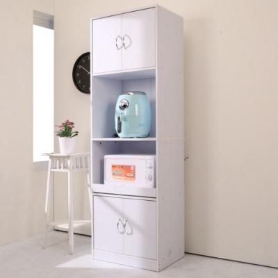 BuyJM 低甲醛純白防潑水180公分四門高櫥房櫃/收納櫃