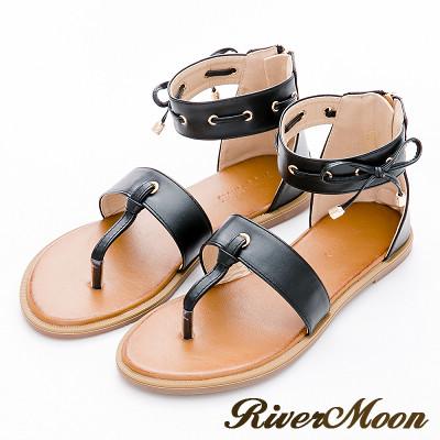 River&Moon大尺碼-韓版造型夾腳繞踝平底涼鞋-黑