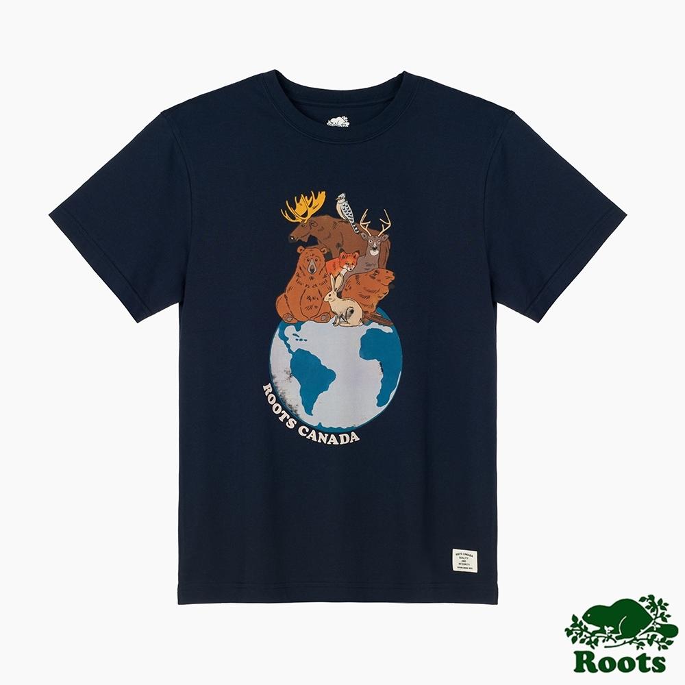 Roots男裝- 環保有機棉系列 愛護地球短袖T恤-藍色