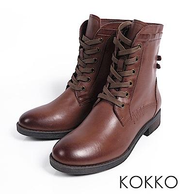 KOKKO - 騎士風牛皮綁帶馬丁短靴 - 焦糖拿鐵