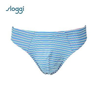 sloggi men Strip系列合身三角褲 冰砂藍