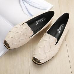 LN 歐美風金屬方頭編織面樂福鞋-3色