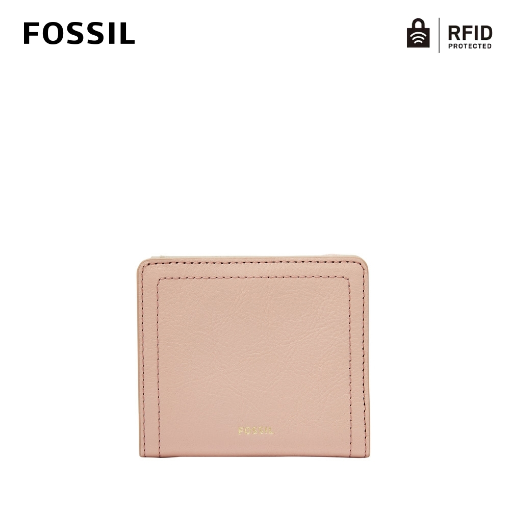 FOSSIL Logan 真皮RFID防盜短夾-櫻花粉 SL7829656