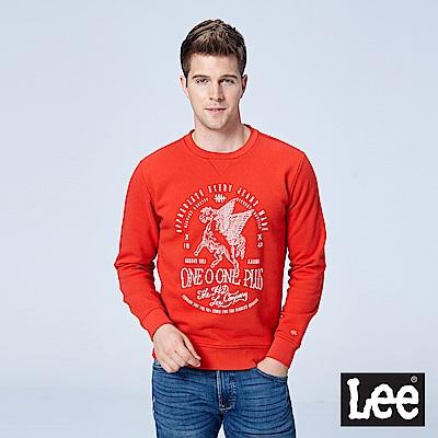 Lee 刺繡印花圓領長袖厚TEE/101+橘紅色