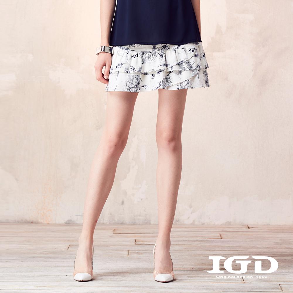 IGD英格麗 悠閒趣味印花多層荷葉裙-白