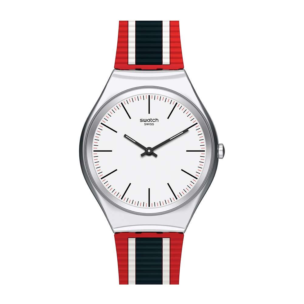 Swatch 超薄金屬系列 SKINFLAG旗紅手錶
