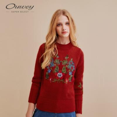 OUWEY歐薇 粗針微縷空花簇刺繡針織衫(藍/紅)