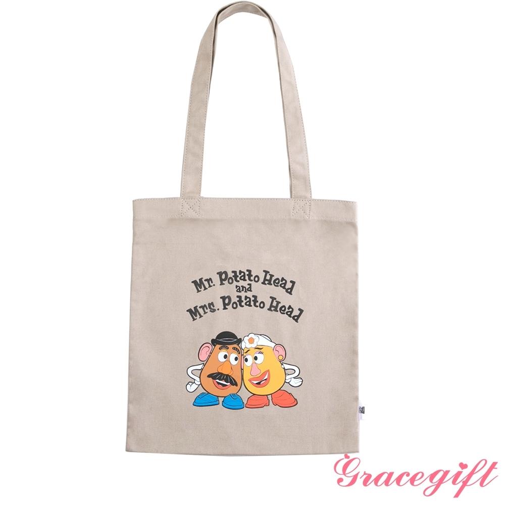 Disney collection by gracegift-玩總蛋頭夫婦圖案帆布袋 卡其