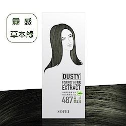 舒妃SOFEI 型色家植萃添加護髮染髮霜 487霧感草本綠