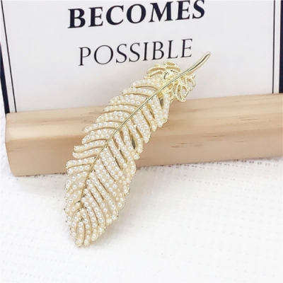 【89 zone】法式古典珍珠葉子一字夾/髮夾 1 入 (不挑款/混色隨機出貨)