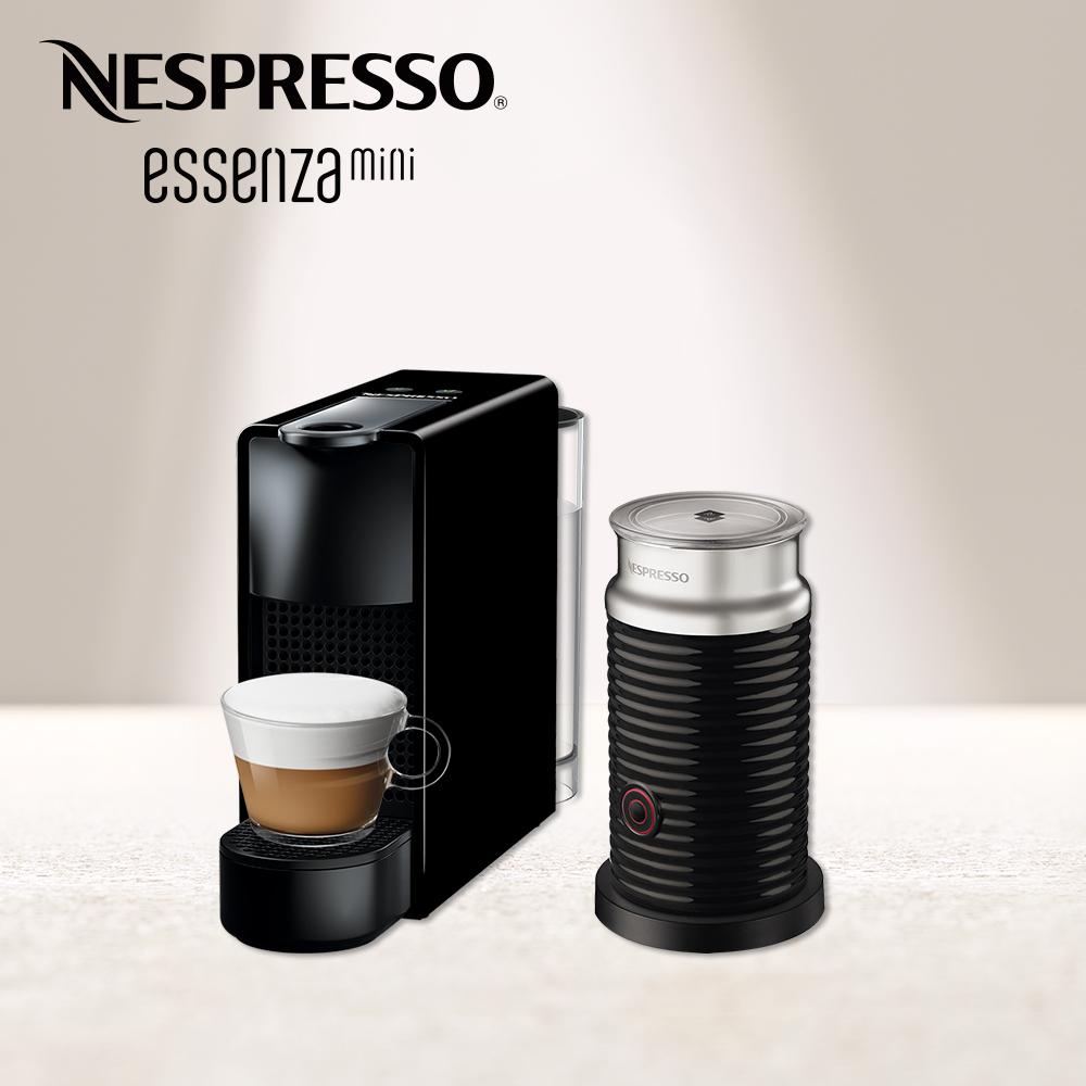 Nespresso 膠囊咖啡機 Essenza Mini 鋼琴黑 黑色奶泡機組合