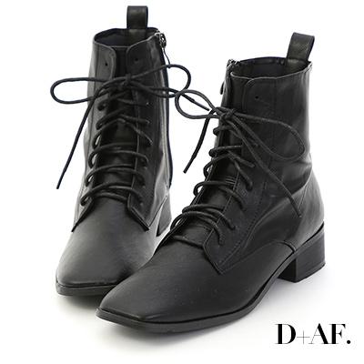 D+AF 韓流主打.復古方頭低跟綁帶短靴*黑