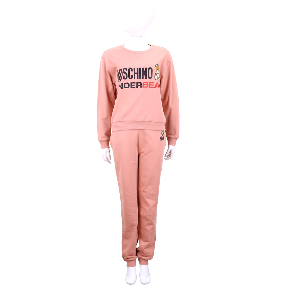 MOSCHINO Underbear 字母泰迪熊寶寶粉橘色棉質運動休閒套裝