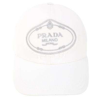 PRADA 品牌家徽不修邊設計帆布棒球帽(白色)
