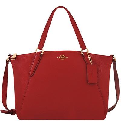 COACH 紅色皮革小型波士頓包