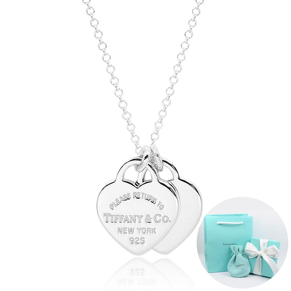 Tiffany&Co. Return to Tiffany 迷你經典雙心純銀項鍊