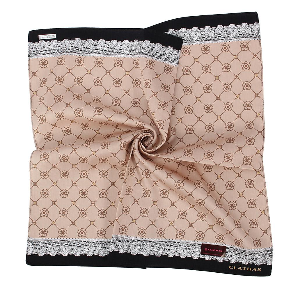 CLATHAS經典山茶花LOGO蕾絲飾邊帕巾-卡其色
