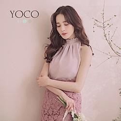 東京著衣-YOCO名媛時尚高花領抓皺設計挖肩上衣-S.M.L(共三色)