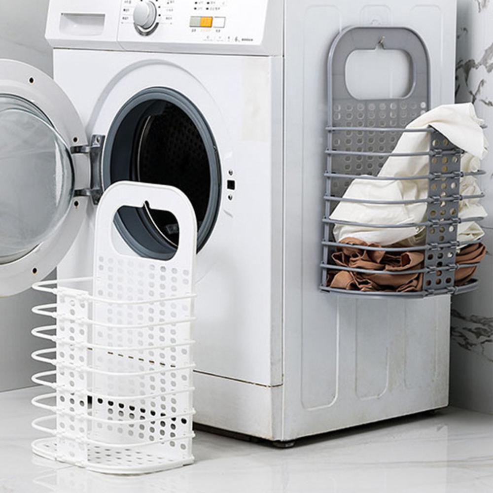 iSFun 無印收納 壁掛式摺疊手提洗衣籃(附掛鉤)