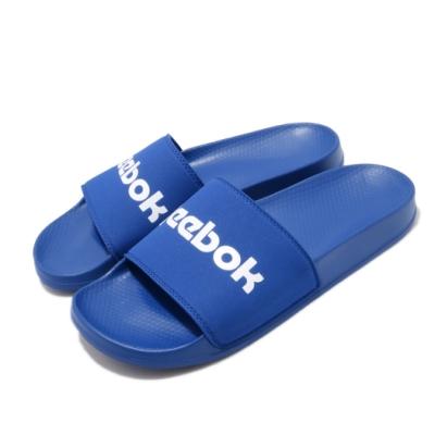 Reebok 涼拖鞋 Classic Slide 套腳 男女鞋 基本款 簡約 大logo 情侶穿搭 藍 白 EH0349