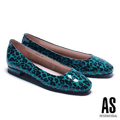 低跟鞋 AS 玩色豹紋超軟牛漆皮方頭低跟鞋-綠