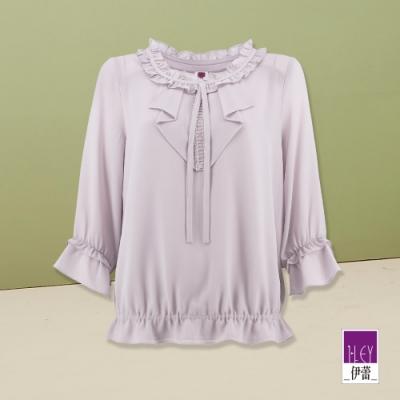 ILEY伊蕾 氣質優雅荷葉綁帶雪紡上衣(紫)