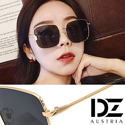 【2件59折】DZ 細線邊大方框型 抗UV防曬太陽眼鏡墨鏡(金框深灰片)