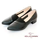 【CUMAR】極簡生活簡約尖頭鬆緊拼接粗跟鞋-黑色