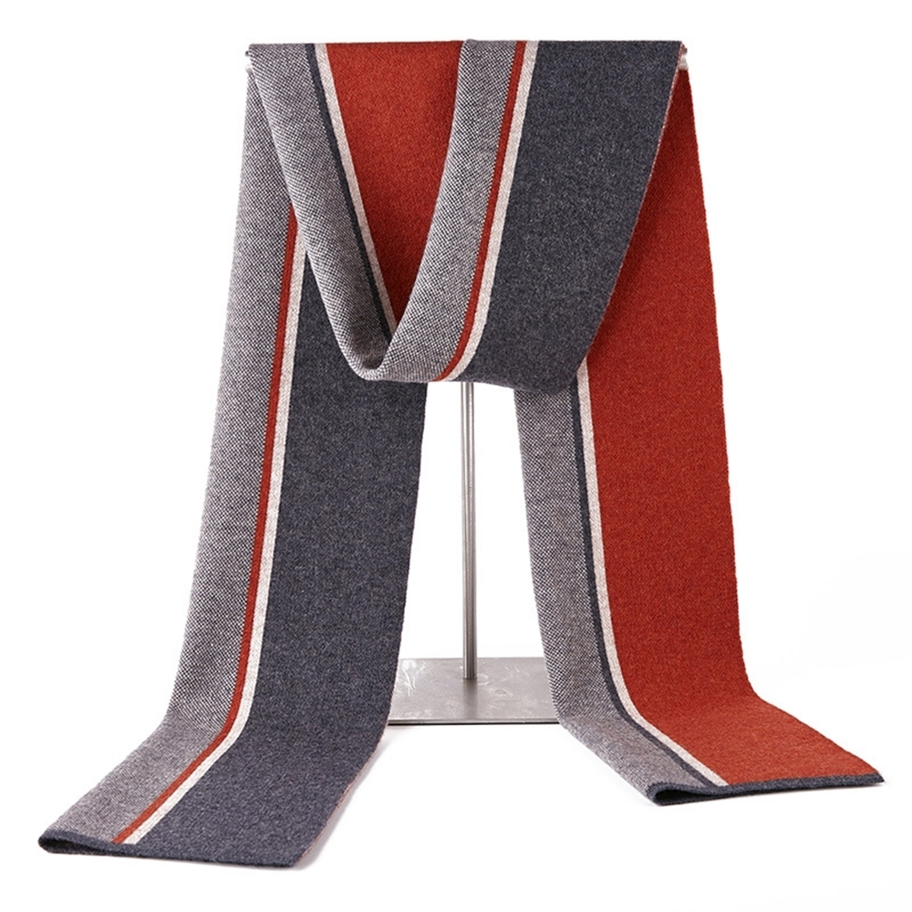 米蘭精品 羊毛圍巾-秋冬簡約條紋針織男披肩情人節生日禮物3色73wh13