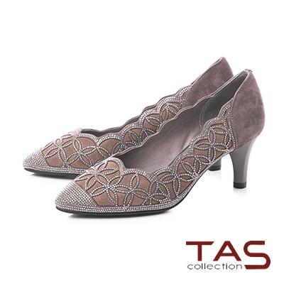 TAS水鑽波浪曲線麂皮尖頭粗跟鞋-成熟灰