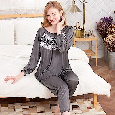 睡衣 浪漫蕾絲 彈性絲質長袖兩件式睡衣(R77215-6灰色) 蕾妮塔塔