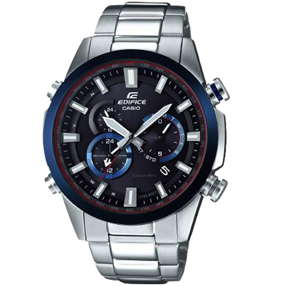 CASIO卡西歐 EDIFICE 雙錶盤太陽能電波腕錶(EQW-T640YDB-1A2)