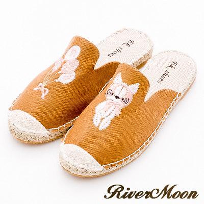 River&Moon穆勒-不對稱電繡狗狗氣球麻編涼拖鞋-棕系