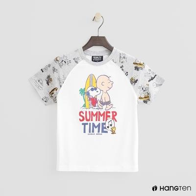 Hang Ten-男童-Charlie Brown-撞色拼接滿版印花短T-白色