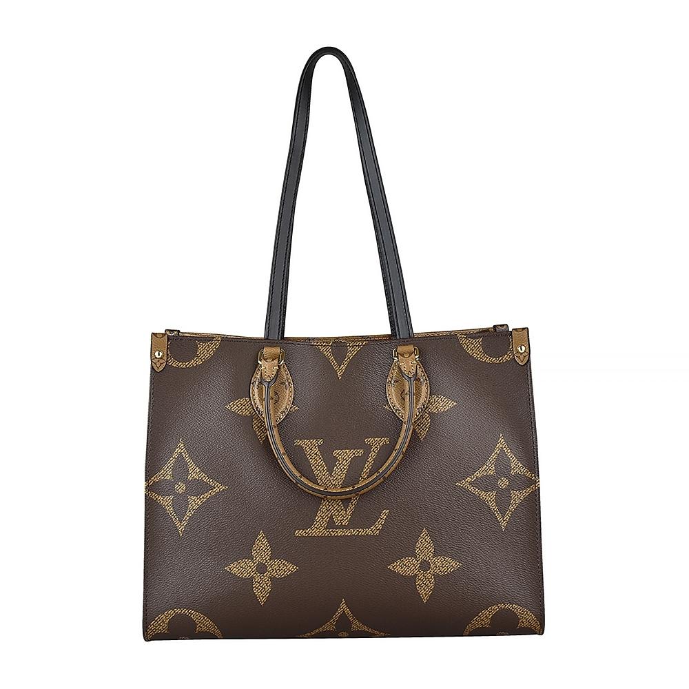 LV 45321 ONTHEGO MM花紋LOGO撞色設計Monogram Reverse帆布釦式手提肩背包(咖啡x淺咖啡)