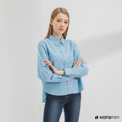 Hang Ten-女裝-A-line版型長袖襯衫-藍色