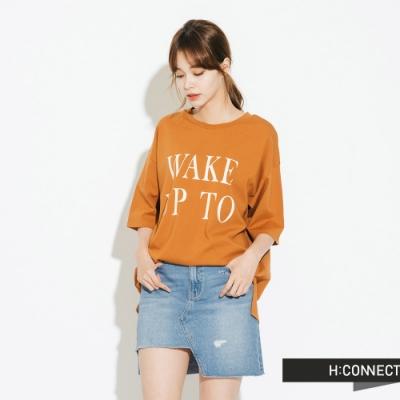 H:CONNECT 韓國品牌 女裝-微寬鬆印字短T-黃