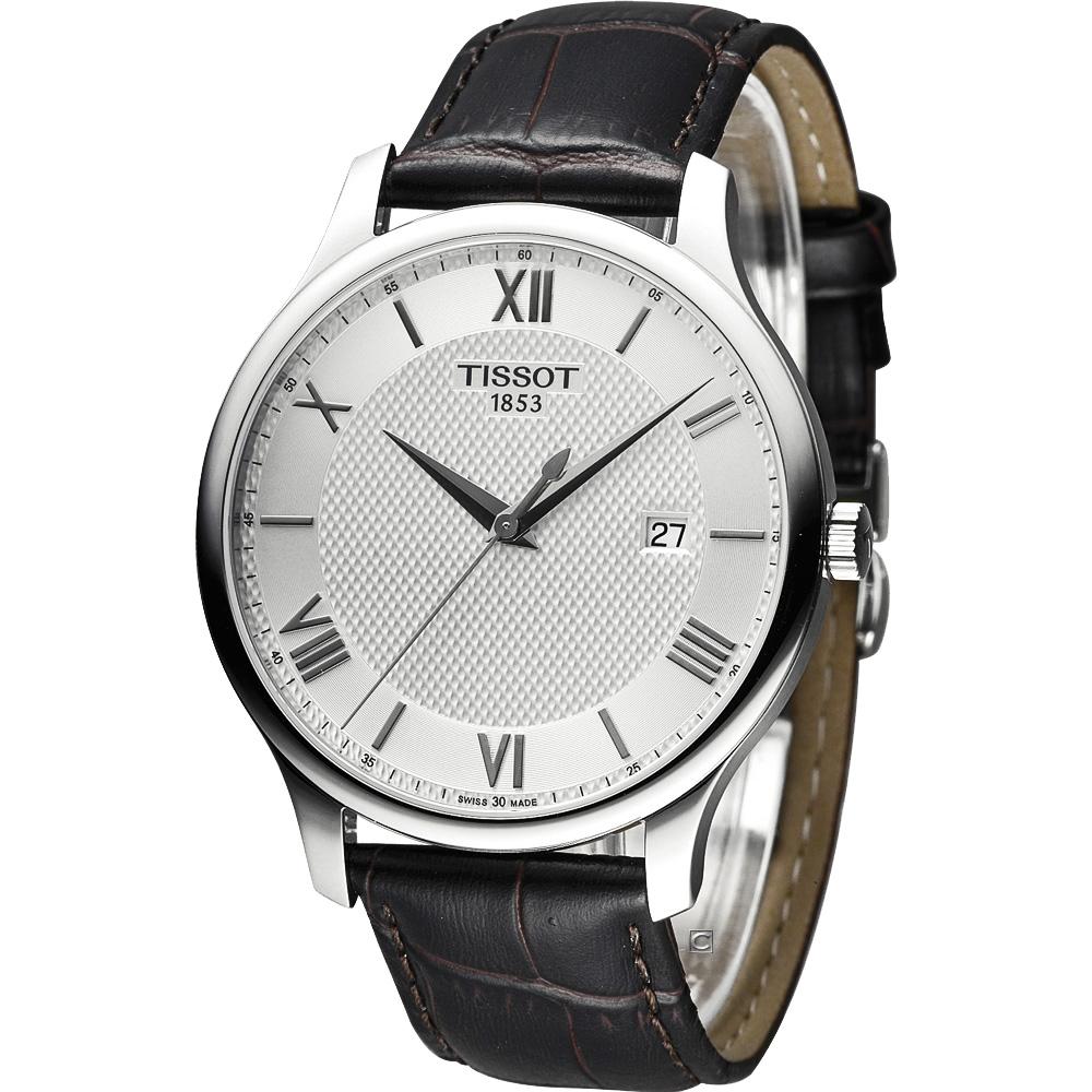 TISSOT 天梭 Tradition系列 懷舊古典時尚皮帶腕錶-銀/42mm