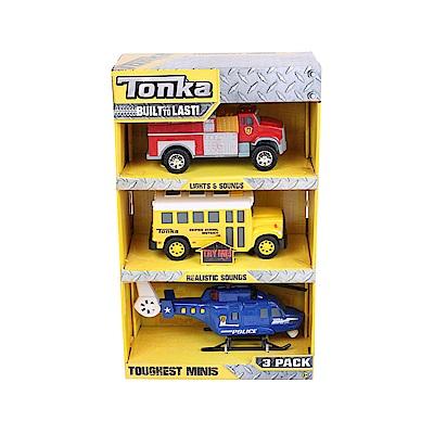 Tonka 小型工程車系列 消防車+校車+警用直升機-三入(3Y+)