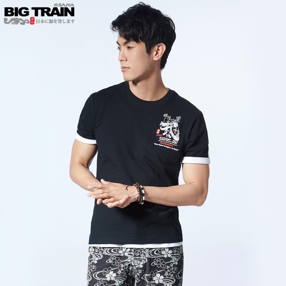 BigTrain 武魂文字潮流圓領短袖-男-黑