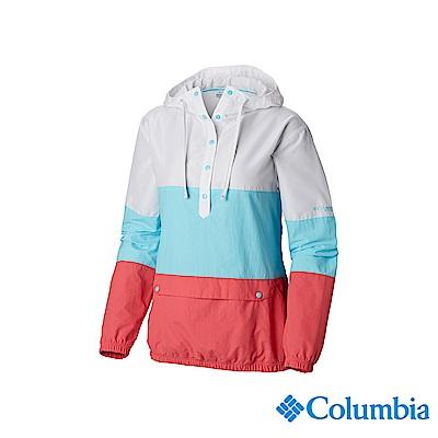 Columbia 哥倫比亞 女款-防潑水半開襟風衣-淺藍 UFL10210