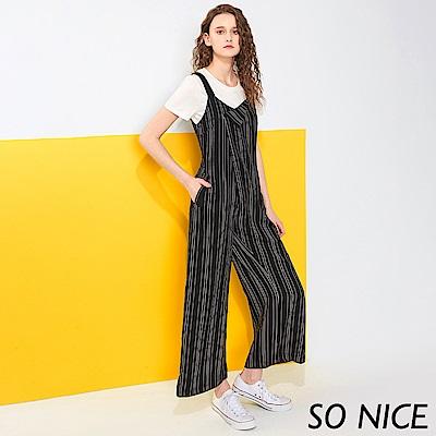 SO NICE都會條紋造型連身寬褲