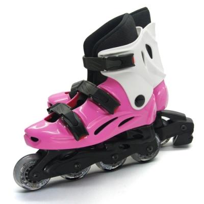 DLD多輪多 高塑鋼底座 專業直排輪 溜冰鞋 粉紅白 530 附贈三角背包